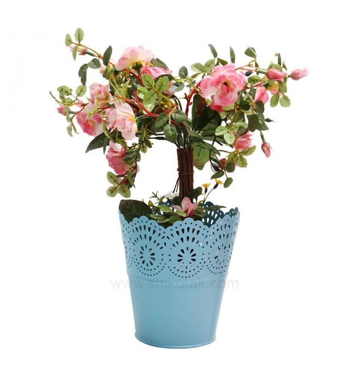 گلدان پلاستیکی لبه توری